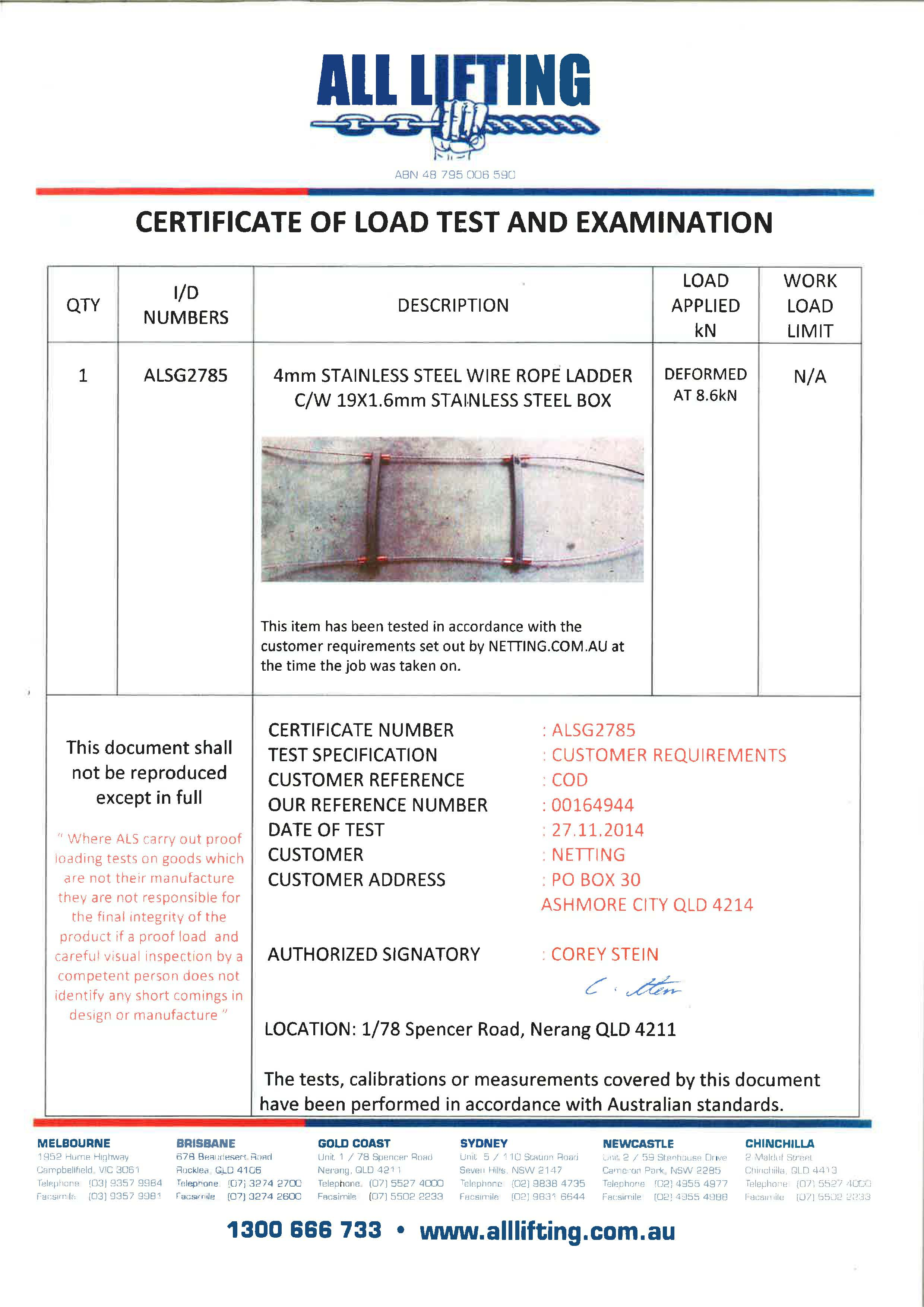 Stainless Steel Rope Ladder Certificate